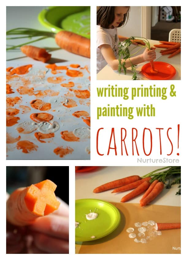 Writing and printing with carrots - fun and easy Easter craft for kids!