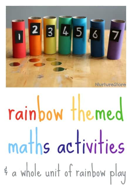 rainbow themed maths activities + a whole unti of rainbow play ideas