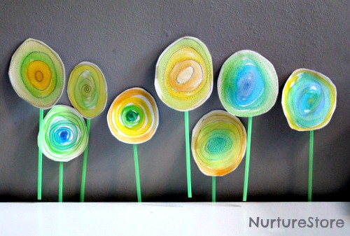spring art for kids    watercolor flowers