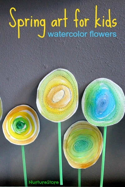 Beautiful spring art for kids: try this watercolor flowers technique