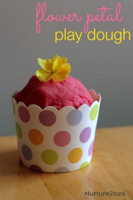 Spring play dough with flowers - love this recipe for homemade playdough
