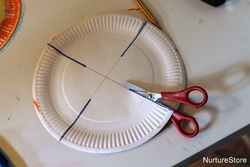 how to make a paper plate basket & Paper plate Easter basket craft - NurtureStore