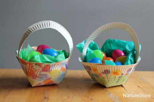 Easter basket craft using paper plate & Paper plate Easter basket craft - NurtureStore