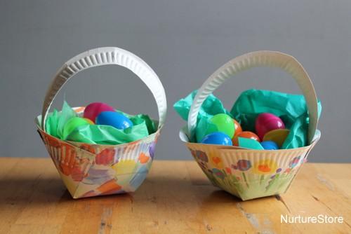 Paper plate easter basket craft nurturestore easter basket craft using paper plate negle Images