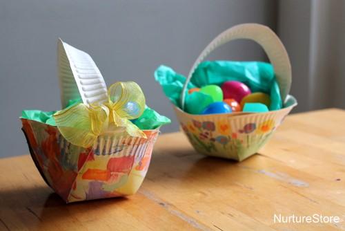 Paper plate easter basket craft nurturestore homemade easter basket craft negle Gallery