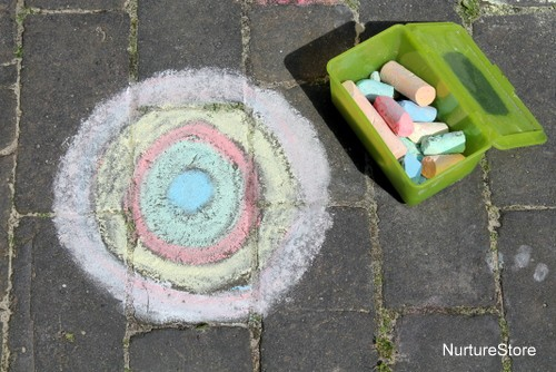 chalk mandalas for kids