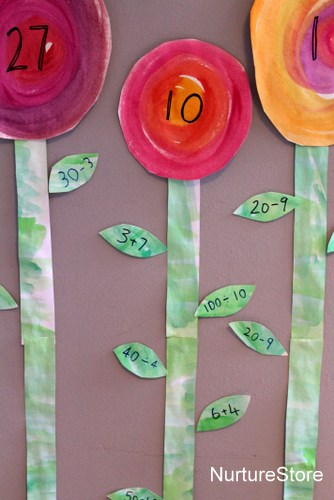 math games numbers addition spring flower