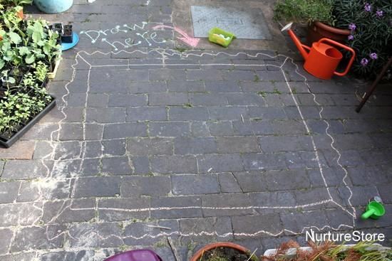 chalk frames outdoor art