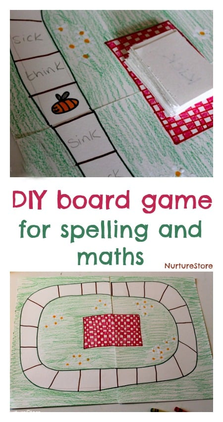 DIY board game for kids: great for spelling games or math