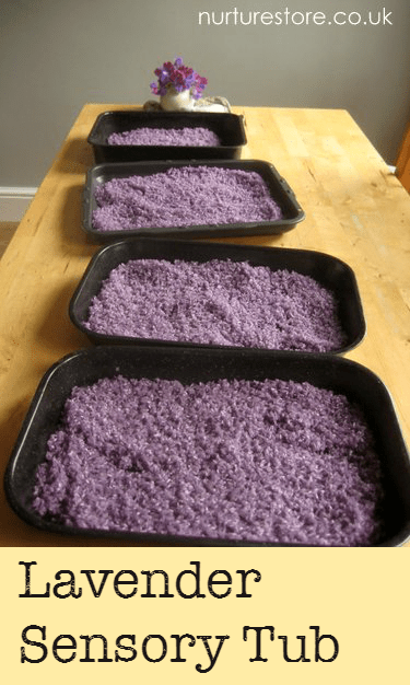 How to make a lavender sensory tub with dyed, scented rice. Lovely!