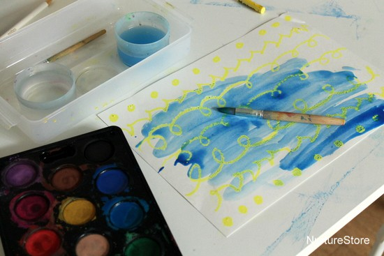 water colour oil resist art