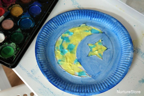 paper plate moon craft kids