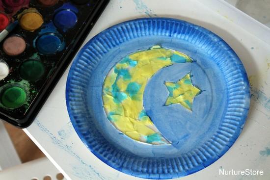 paper plate moon craft kids