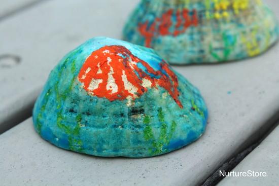 watercolour oil pastel resist under the sea art