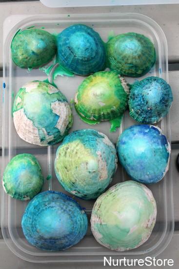 painting shells kids art project ocean