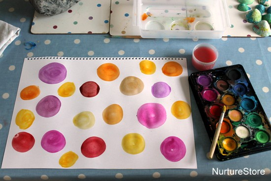 watercolour painting activity using rain