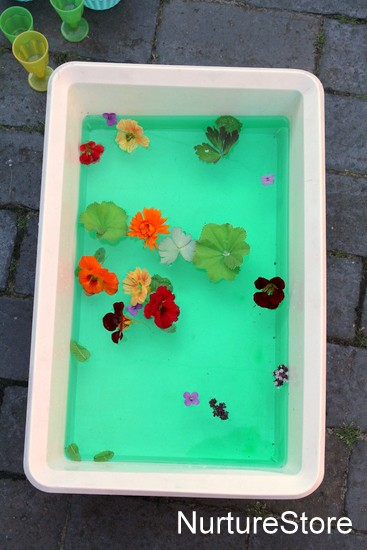 flower sensory tub water play