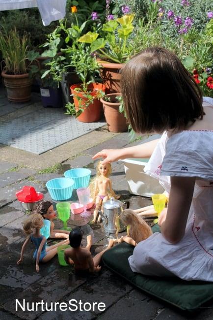 water sensory play activity pretend play tea party