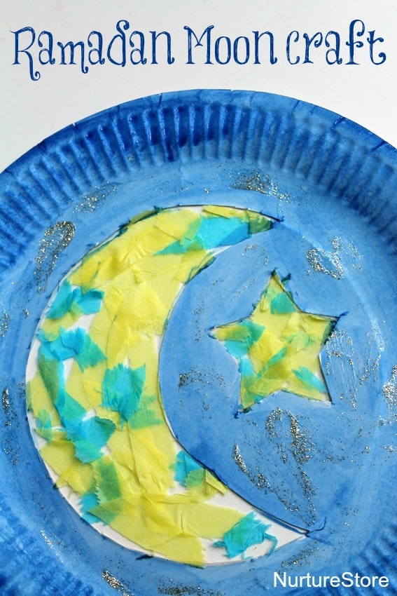 A beautiful cresent moon and star paper plate Ramadan craft.