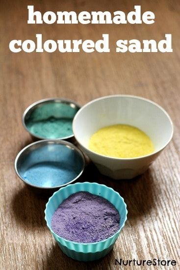 How to make homemade colored sand for sensory play and kids art activities