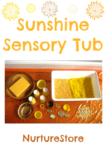 sun theme senosry play :: summer sensory tub :: summer solstice for kids