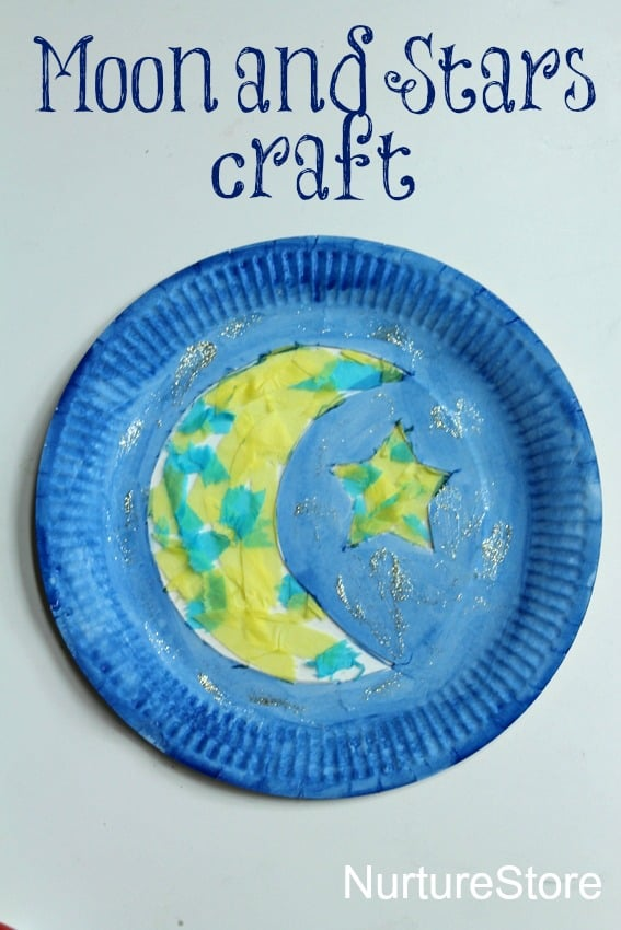 Beautiful moon and start paper plate craft - fun for Ramadan
