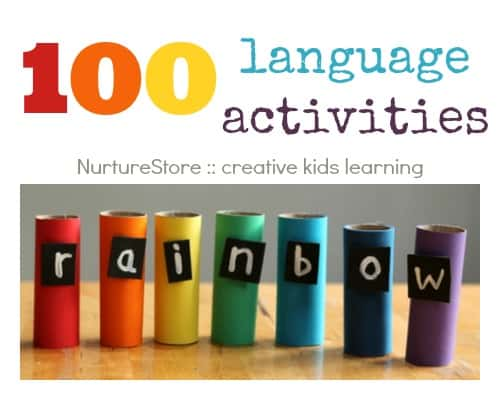 100 language activities :: alphabet, spelling, sight words, creative writing, storytelling, language development. Multi-sensory, play-based ideas.