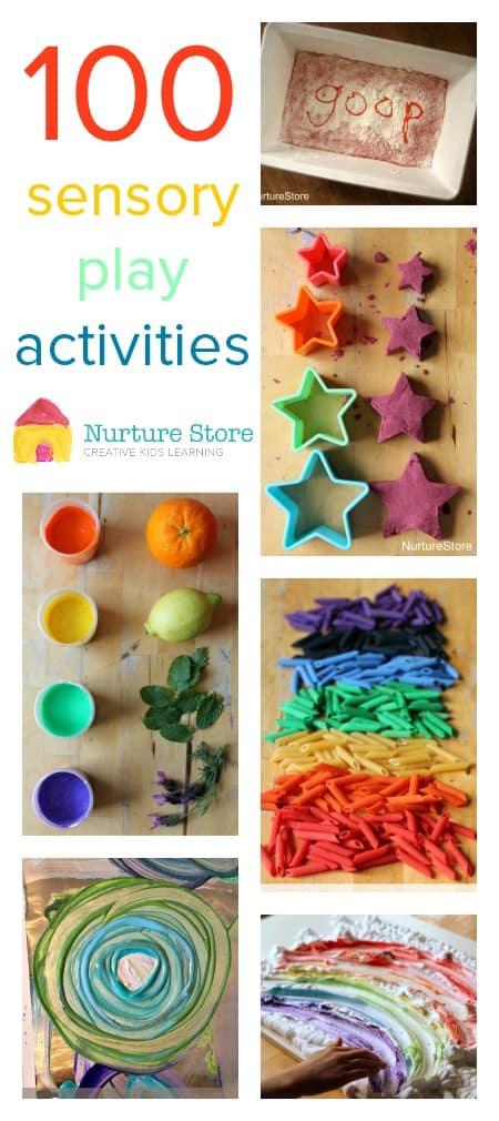 100 sensory play activities for babies, toddlers, preschool and school.
