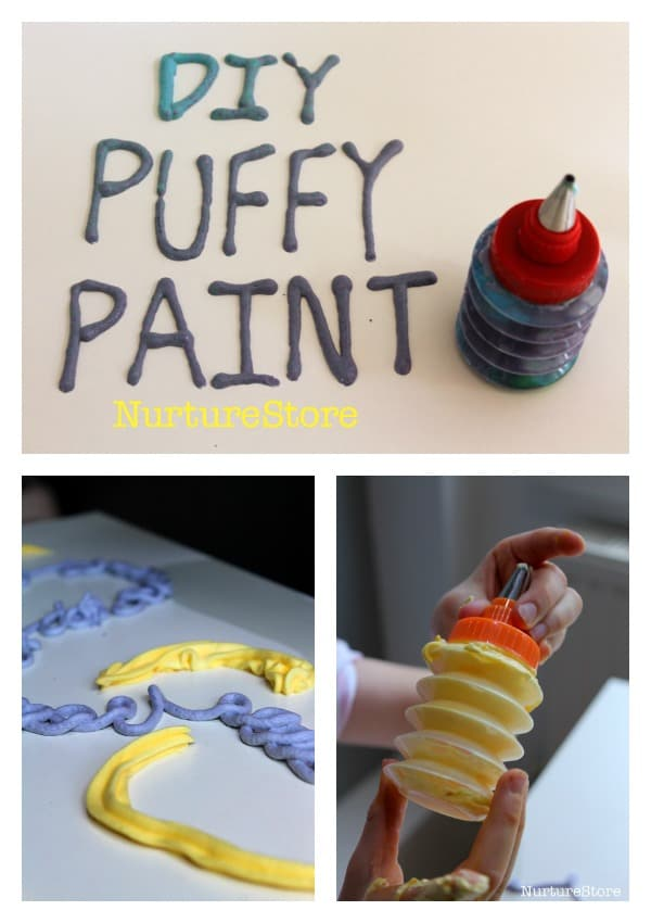 Quick and easy homemade puffy paint recipe - ready in 2 minutes, don't need a microwave!