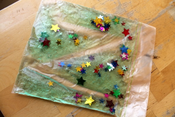 sensory play with gel bags