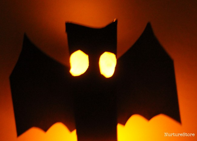 glow in he dark bat lantern Halloween craft for kids