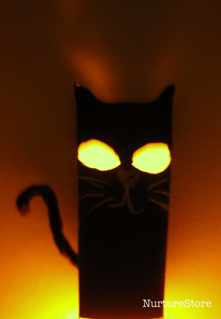 glow in the dark cat lantern Halloween crafts for kids