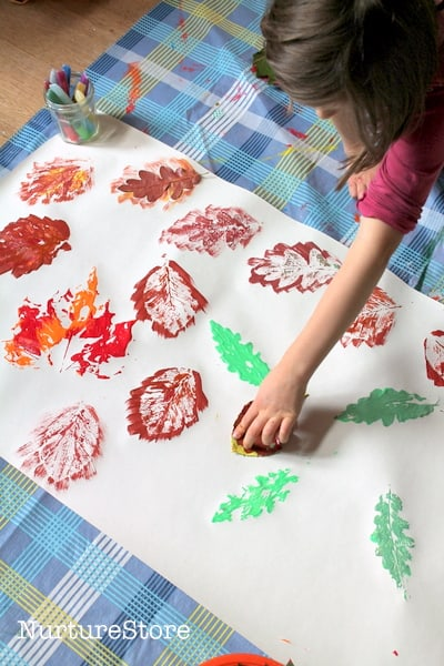 fall leaf printing in preschool - Printing Pictures For Kids