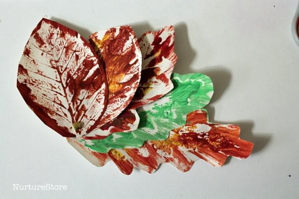 using leaf prints making books