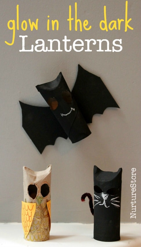 Halloween lantern crafts :paper roll Halloween bats, cats and owls that glow in the dark!