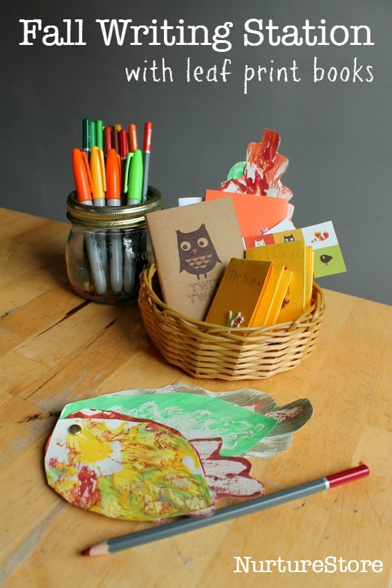 Fall writing station with leaf print books