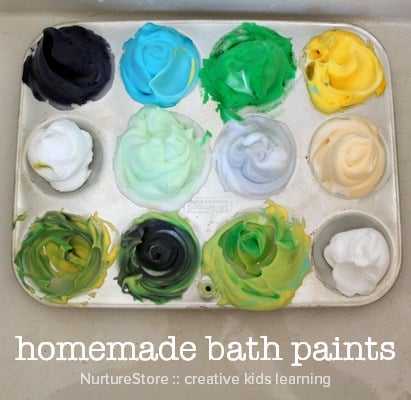homemade bath paint recipe for sensory play