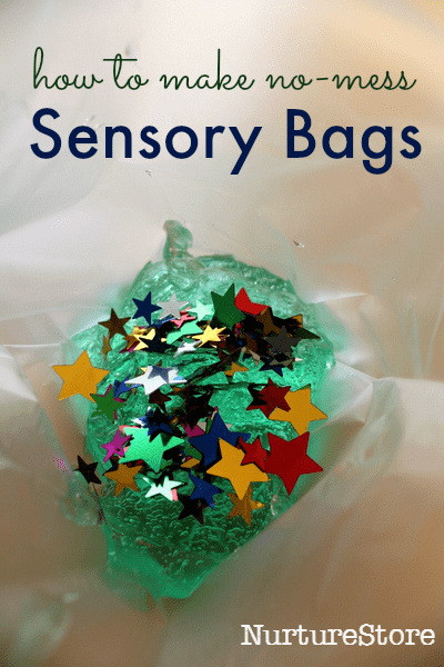 no mess sensory play :: how to make sensory discovery bags
