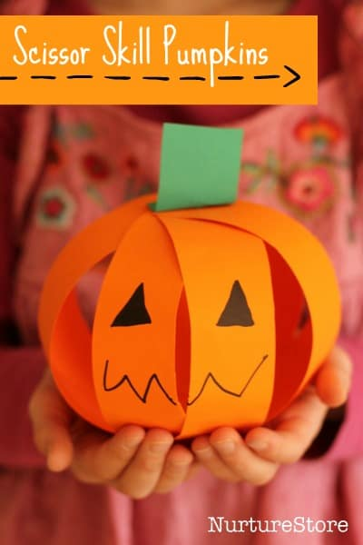 A cute and easy pumpkin craft that great for scissor skills.