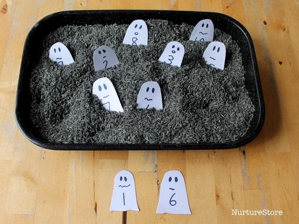 halloween math station ghosts addition