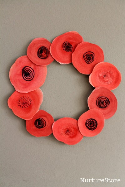 easy poppy wreath craft for kids