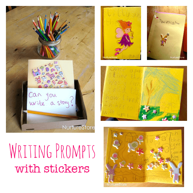 Writing prompts activity for children using stickers