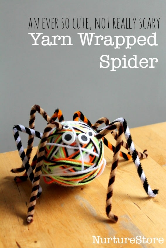 So cute and easy to make: Hallween spider craft for kids. Nice textures and a good workout for fine motor skills too.