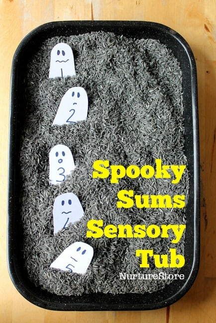 number sensory tub for halloween