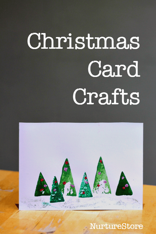 Easy Christmas card crafts for preschool, toddlers and older kids