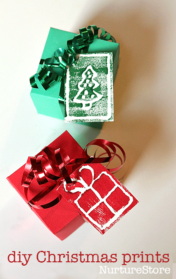 diy block printing christmas card craft - great for homemade gift tags