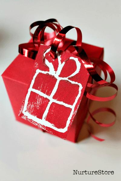 mono print gift tags
