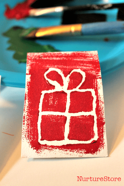 mono printed christmas card craft