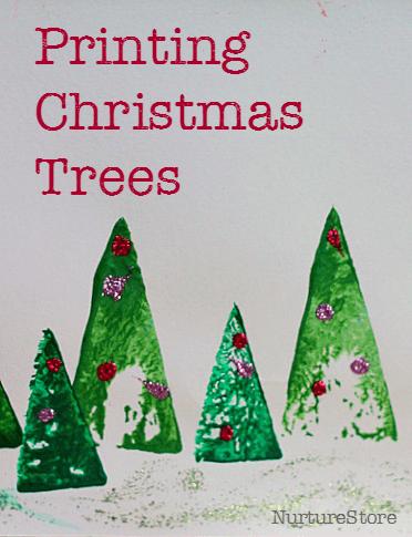 printing Christmas trees craft