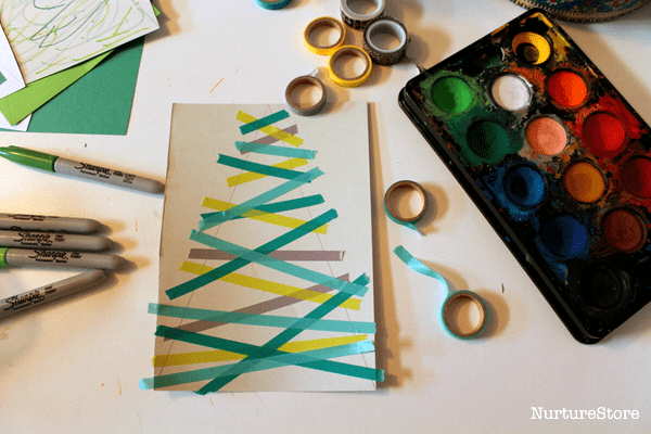 glitter Christmas tree craft